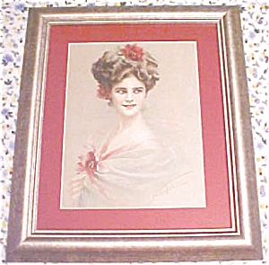 Print Lady with Red Flowers 1910 Gibson Girl Style (Image1)
