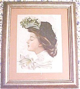 Print Lady with Black Hat 1906 Gibson Girl Style (Image1)