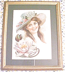 Print Lady With Floral Hat 1906 Gibson Girl Style