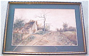 Cottage Watercolor Painting Country Road Framed (Image1)