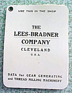 Lees-bradner Co Calculator Charts Gear Thread Milling