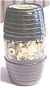Victorian String Holder Wood Barrel Floral Treen (Image1)