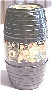 Victorian String Holder Wood Barrel Floral Treenware (Image1)