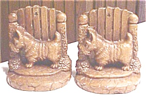 Scotty Dog Bookends Syroco Wood Vintage (Image1)