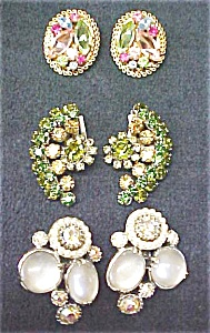 Earring Collection Vintage Rhinestones Signed (Image1)