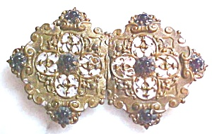 Belt Buckle Victorian Ladies 2 PC Amethyst Ornate (Image1)