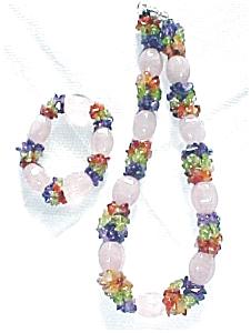 Choker Necklace & Bracelet Amethyst Peridot (Image1)