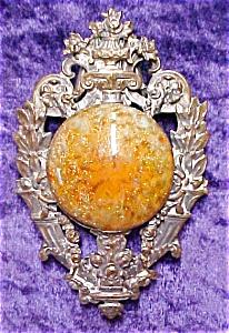 Antique Cloak Clasp Ornate Large Goldstone (Image1)