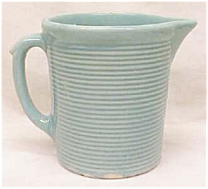 Weller Pottery Pitcher Green Ribbed (Image1)