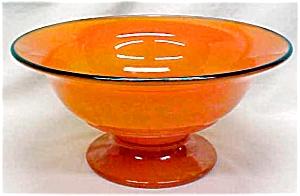 Lancaster Glass Pedastal Bowl Orange 1920's (Image1)