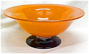 Us Glass Crystal Bowl Compote Footed Orange