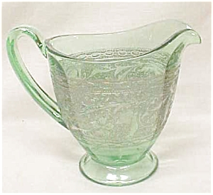 Green Depression Glass Creamer Ornate Silver (Image1)
