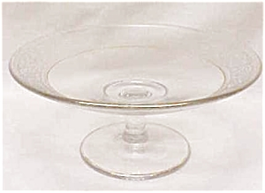 Glass Cheese Comport Candle Holder Etched Flr (Image1)