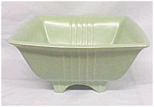 Green Pottery Bowl Sleek Deco Style USA (Image1)