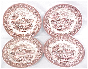 Grindley Bread Plates Red Transferware 4 PC (Image1)