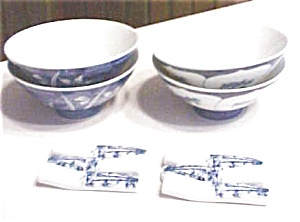 Rice Bowls + Chop Stick Rests  Blue and White (Image1)