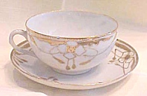 Teacup & Saucer Hand Painted 1920-30's Arts & Crafts (Image1)