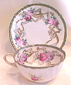 Teacup & Saucer Hand Ptd Roses Pre WWII (Image1)