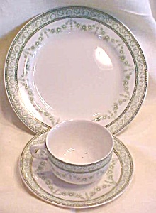 Meakin Teacup Saucer Dinner Plate Ca 1912 Woodbine (Image1)