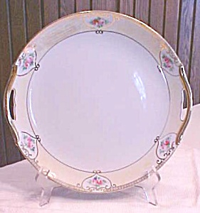 Nippon Hand Painted  Plate Handles Roses 9.5 inch (Image1)