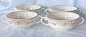 Porcelain Bowl (4) Roses Double Handles 5 inch (Image1)