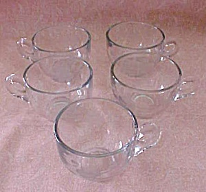 Cut Glass Coffee Cups (5) Floral & Leaf Pattern (Image1)