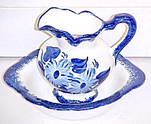 Clinchfield Artware Pitcher & Bowl Blue Hand Painted (Image1)