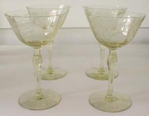 Yellow Wine Glasses Fostoria or Cambridge (Image1)