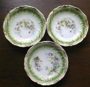 Ornate Berry Bowls German Bone China Floral (Image1)