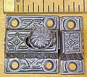 Antique Cupboard Latch Cast Iron Ornate Design (Image1)
