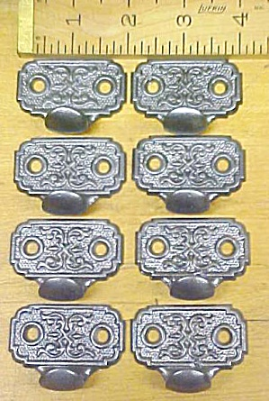 Antique Drawer Pulls Cast Iron Ornate Design Set of 8 (Image1)