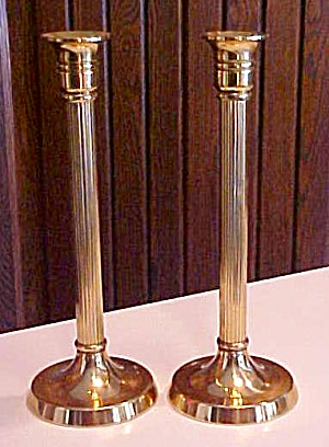 Brass Candle Stick Holders Pair Roman Pillar (Image1)