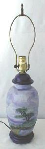 Blue Porcelain Lamp Hand Painted Scenes Signed (Image1)