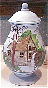 Blue Pottery Lamp Mill on River Hand Painted (Image1)