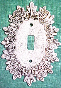 Brass Switchplate Scrolled Leaves White Washed Tuscany (Image1)