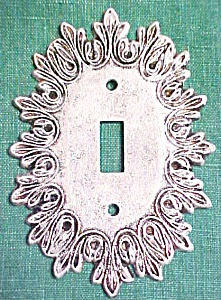 Brass Switchplate Scrolled Leaves Tuscany  White Washed (Image1)