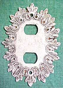 Brass Switchplate Scrolled Leaves Tuscany  White 2 Plug (Image1)