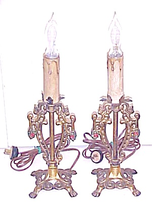 Candlestick Lamp Pair Lion Paw Footed Cast Metal (Image1)