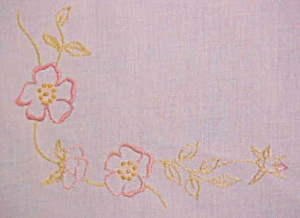 Table Topper Floral  Embroidery Linen Leg Ties (Image1)
