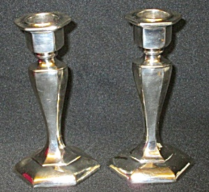 Antimony Candlesticks Pair Silver Plated (Image1)