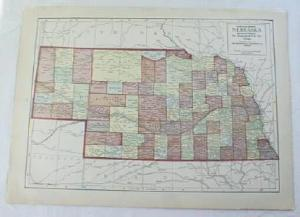 1911 Map Of Nebraska & Kansas