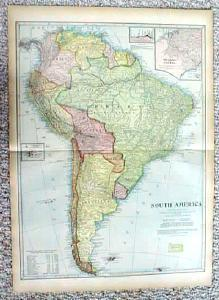1899 Map South America & Islands Antique (Image1)