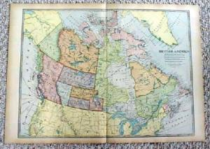 1899 Map British America Canada Antique