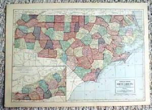 1911 Map Of North & South Carolina
