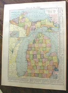 1904 Map Michigan And Illinois