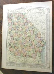 1904 Map Georgia And Florida