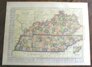 1904 Map Kentucky Tennessee Indiana (Image1)