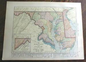 1904 Map Maryland Delaware Ohio