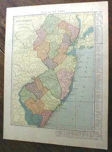 1904 Map New Jersey And Pennsylvania Antique
