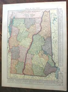 1904 Map Vermont New Hampshire Massachusetts Rhode Is.